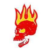 Cartoon flaming skull — Stockvektor