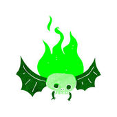 Cartoon spooky skull bat — Vettoriale Stock