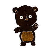 Cute cartoon black bear — Stok Vektör