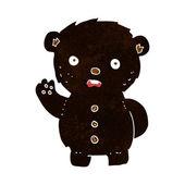 Cartoon unhappy black teddy bear — Wektor stockowy