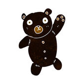 Cartoon cute black teddy bear — Vettoriale Stock