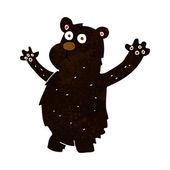 Cartoon funny black bear — Stock Vector
