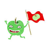 Cartoon apple with flag — Stockvektor
