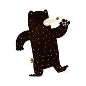 Cartoon waving black bear — Stock Vector