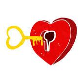 Cartoon heart with key — Stock Vector