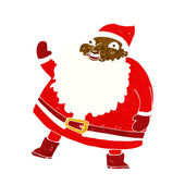 Funny waving santa claus cartoon — Stockvector