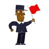 Uomo fumetto sventolando la bandiera — Vettoriale Stock