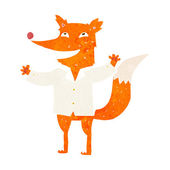 Cartoon happy fox wearing shirt — Vettoriale Stock