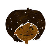 Cartoon happy female face — Stock Vector