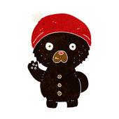 Cartoon waving black teddy bear in winter hat — Wektor stockowy