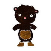 Cartoon teddy black bear wearing boots — Stock Vector