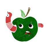 Cartoon worm in apple — Stock Vector