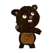 Cartoon cute waving black bear teddy — Wektor stockowy