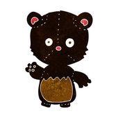 Kreskówka mało black bear macha — Wektor stockowy