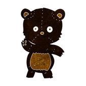 Kreslený mává černý medvěd — Stock vektor