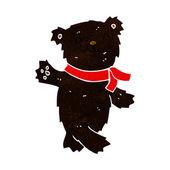 Cartoon waving teddy black bear — Wektor stockowy