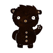 Cartoon waving black bear — Stockvector
