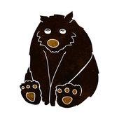 Cartoon unhappy black bear — Stock Vector