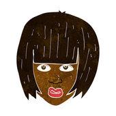 Cartoon annoyed girl with big hair — Stock Vector