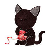 Cartoon cute black cat playing with ball of yarn — ストックベクタ