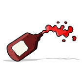 Cartoon squirting blood bottle — Stock Vector