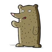 Cartoon waving bear — Stock Vector