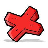 Cartone animato negativo croce simbolo — Vettoriale Stock