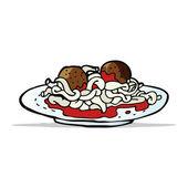 Dibujos animados espaguetis con albóndigas — Vector de stock