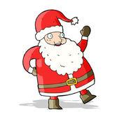 Lustig winkenden weihnachtsmann cartoon — Stockvektor
