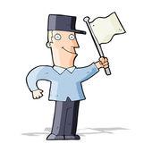 Cartoon man waving flag — Stock Vector