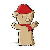 Cartooon teddy bear in hat and scarf — Stock Vector