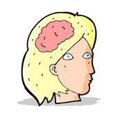 Cartone animato testa femminile con simbolo del cervello — Vettoriale Stock