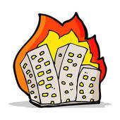 Cartoon burning buildings — Stock Vector