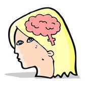 Cartoon female head with brain symbol — Vecteur