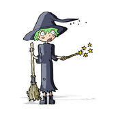 Cartoon witch casting spell — Stock Vector