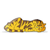 Cartoon resting tiger — Vector de stock
