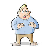 Cartoon excited overweight man — Vector de stock