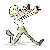 Hombre de dibujos animados huyendo — Vector de stock