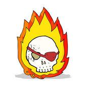 漫画の燃える頭蓋骨 — ストックベクタ