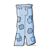 Cartoon patched old jeans — Vector de stock