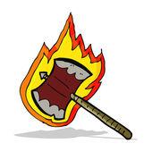 Cartoon flaming axe — Stock Vector