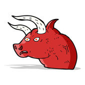 Cartoon angry bull head — Stok Vektör