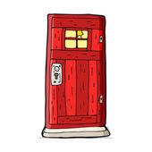 Cartoon old wood door — Stock Vector