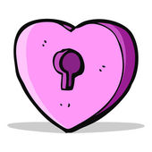 Cartoon heart with keyhole — Vettoriale Stock