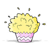 Cartoon exploding cupcake — Stock Vector