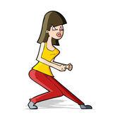 Cartoon crazy dancing girl — Stock Vector