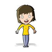Cartoon woman shrugging shoulders — Vetorial Stock
