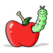 Cartoon bug eating apple — Stock Vector