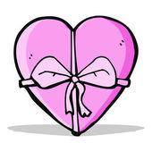Cartoon heart shaped present — Stock Vector