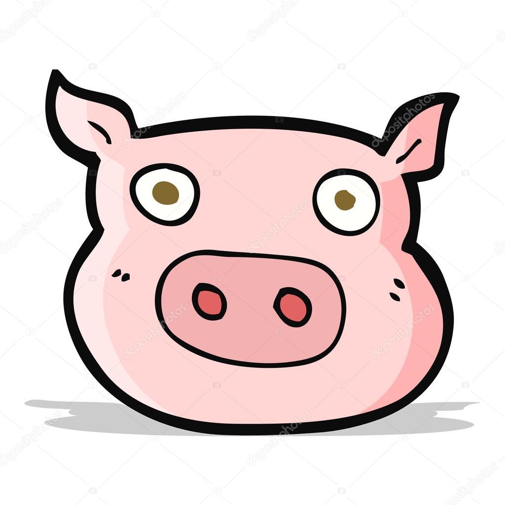 Cartone animato faccia di maiale — vettoriali stock